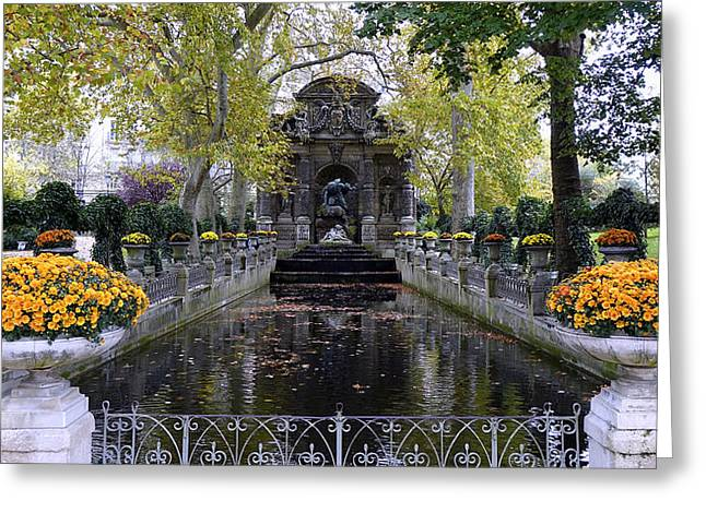 The Medici Fountain At The Jardin Du Luxembourg In Paris France. Greeting Card