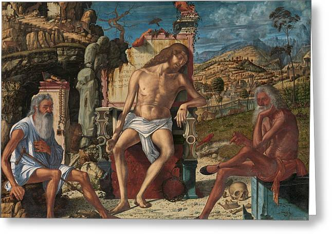 Greeting Card featuring the painting The Meditation On The Passion by Vittore Carpaccio