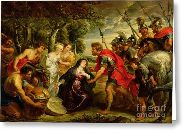 Roman Soldier Greeting Cards - The Meeting of David and Abigail Greeting Card by Peter Paul Rubens