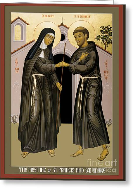 The Meeting Of Sts. Francis And Clare - Rlfac Greeting Card by Br Robert Lentz OFM