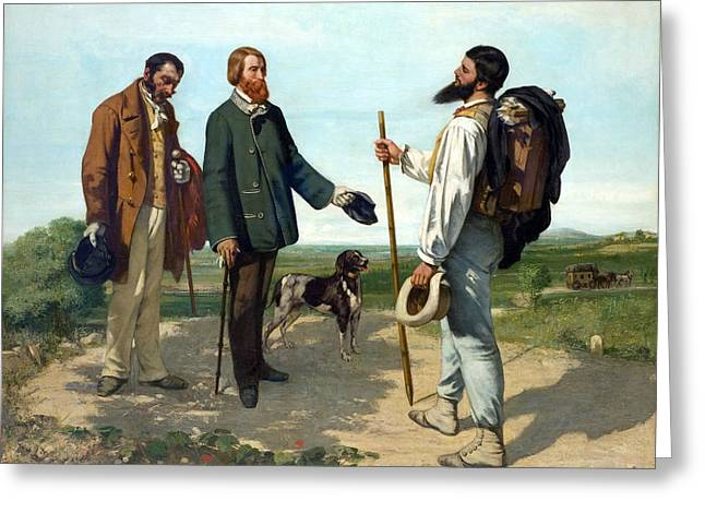 The Meeting Or Bonjour, Monsieur Courbet Greeting Card by Gustave Courbet