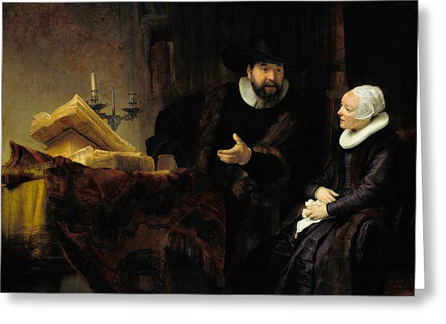 The Mennonite Preacher Anslo And His Wife Greeting Card by Rembrandt