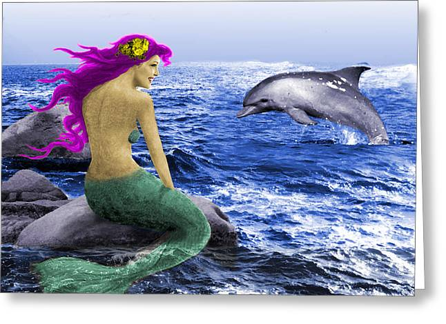 The Mermaid And The Dolphin Greeting Card