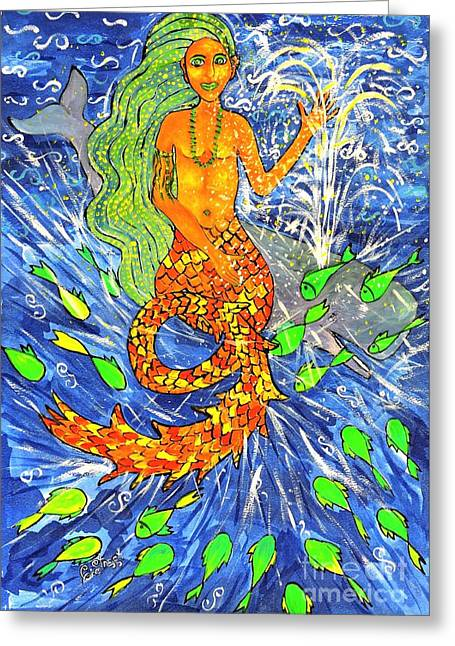 The Mermaid And The Whale Greeting Card