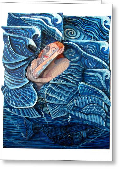 The Mermaid And The Whale Greeting Card by Joanna Whitney