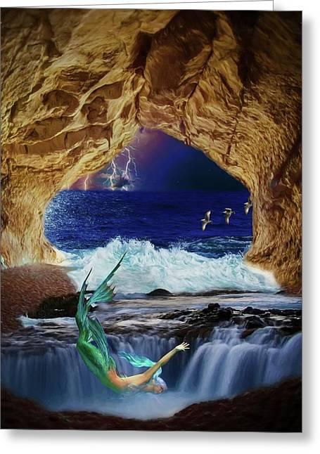 Greeting Card featuring the digital art The Mermaids Secret Lair by John Haldane