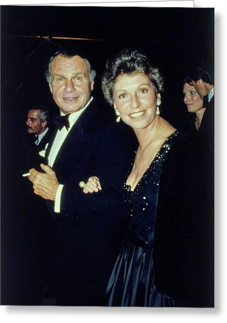 The Met Set Bill Blass And Geraldine Stutz Greeting Card