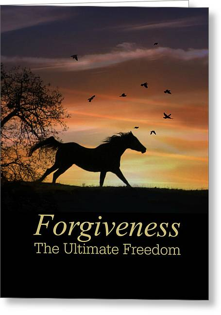 The Metaphysical Power Of Forgiveness, Horse And Sunrise Greeting Card by Stephanie Laird