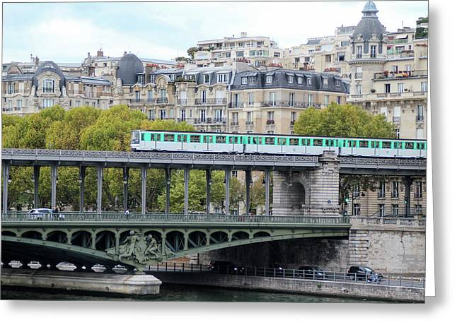 Greeting Card featuring the photograph The Metro On The Bridge by Yoel Koskas
