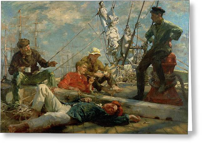The Midday Rest Sailors Yarning Greeting Card by Henry Scott Tuke
