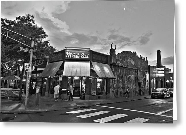 The Middle East In Central Square Cambridge Ma Black And White Greeting Card