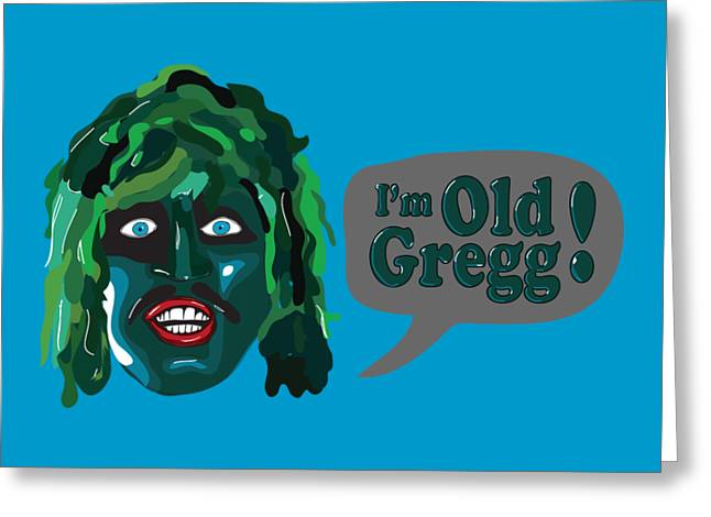 The Mighty Boosh Tv Series I'm Old Gregg Scaly Man Fish Bbc Comedy Greeting Card by Paul Telling