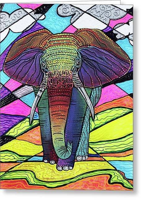 The Mighty Elephant Greeting Card by Laura Barbosa