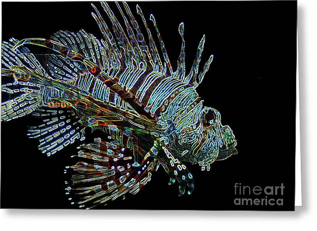 The Mighty Lion Fish Greeting Card by Carol F Austin