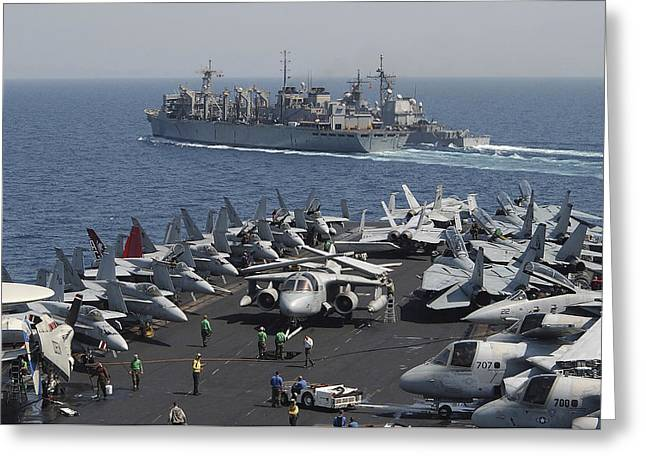 The Military Sealift Command Oiler Usns Greeting Card by Stocktrek Images
