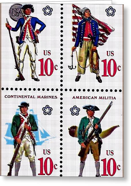 The Military Services Bicentennial Stamps Greeting Card by Lanjee Chee