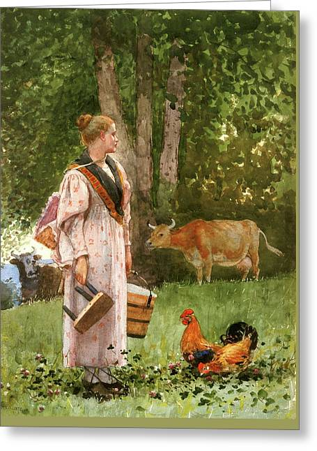 The Milk Maid By Winslow Homer 1878 Greeting Card by Movie Poster Prints