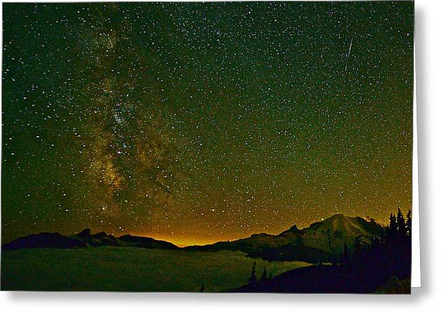 The Milky Way And Mt. Rainier Greeting Card