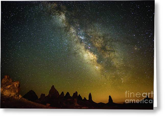 The Milky Way Galaxy Over The Trona Pinnacles In California. Greeting Card