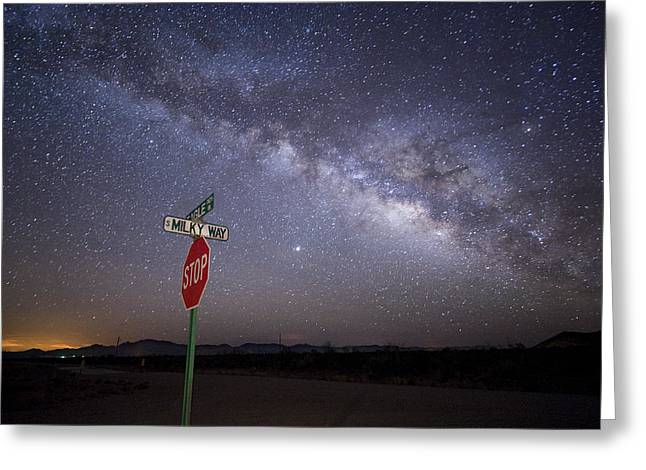 The Milky Way Is Undimmed By Outdoor Greeting Card by Jim Richardson