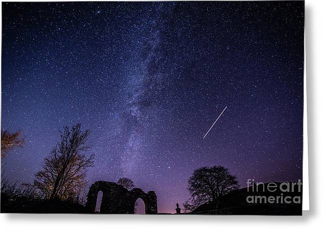 The Milky Way Over Strata Florida Abbey, Ceredigion Wales Uk Greeting Card