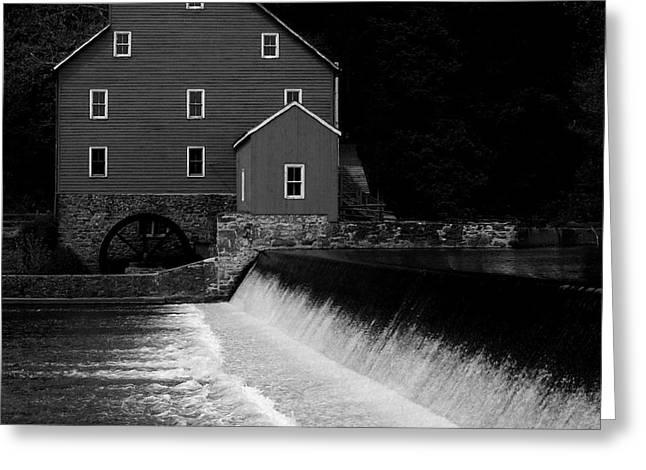 The Mill - Black And White Greeting Card