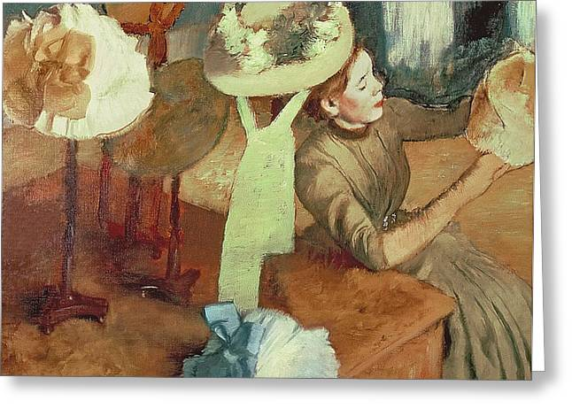 Canvas Pastels Greeting Cards - The Millinery Shop Greeting Card by Edgar Degas