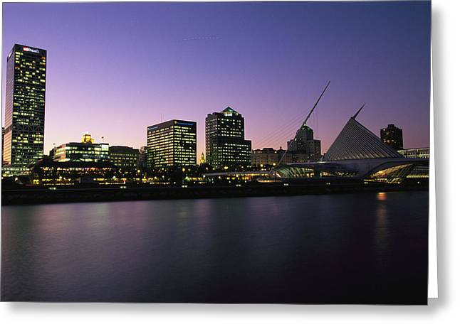 Urban And Suburban Ways Of Life Greeting Cards - The Milwaukee Skyline At Twilight Greeting Card by Medford Taylor