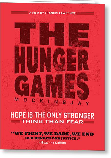 The Minimalist Movie Poster - The Hunger Games - Mockingjay Movie Greeting Card by Celestial Images