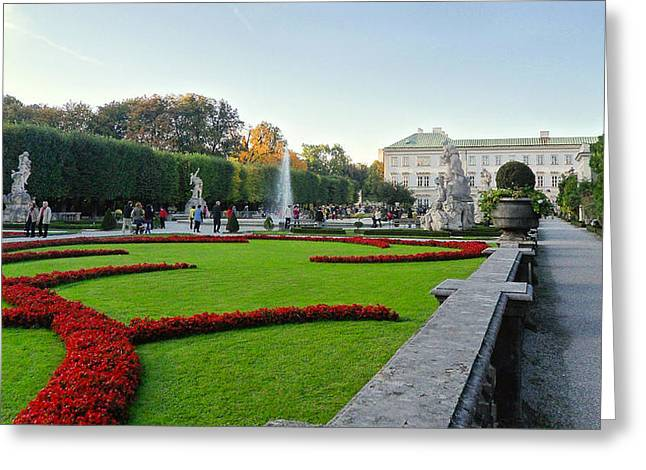 Greeting Card featuring the photograph The Mirabell Palace In Salzburg by Silvia Bruno
