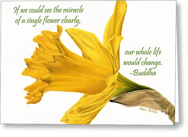 The Miracle Of A Single Flower Greeting Card by Sarah Batalka