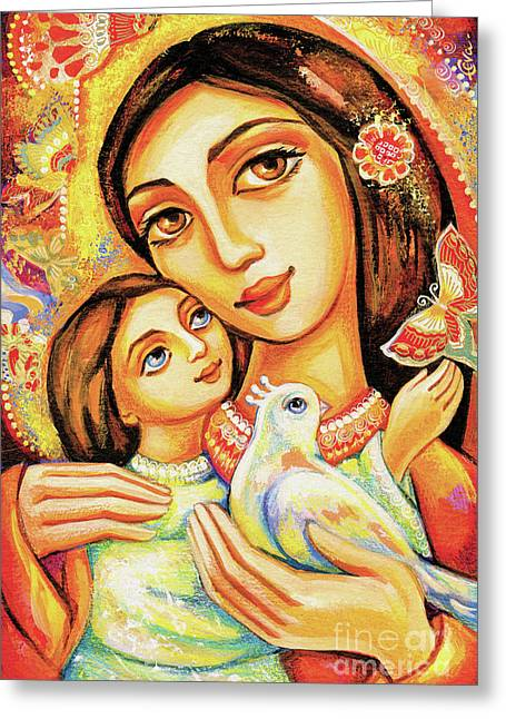 Greeting Card featuring the painting The Miracle Of Love by Eva Campbell
