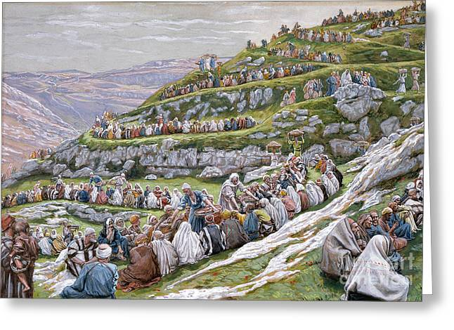 Hillsides Greeting Cards - The Miracle of the Loaves and Fishes Greeting Card by Tissot