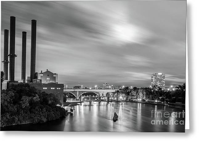The Mississippi River Night Scene Greeting Card
