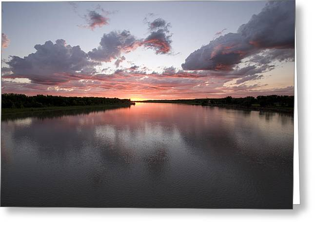 Missouri River Greeting Cards - The Missouri River At Sunset Reflects Greeting Card by Phil Schermeister
