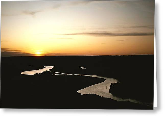 Wildlife Refuge. Greeting Cards - The Missouri Rivers Silvery Surface Greeting Card by James P. Blair