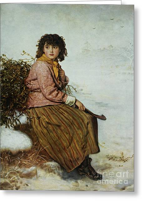 Pretty Scenes Greeting Cards - The Mistletoe Gatherer Greeting Card by Sir John Everett Millais