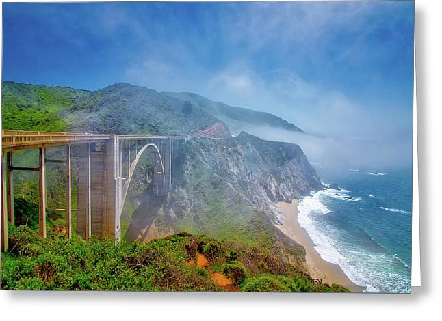 The Mists Of Bixby Bridge Greeting Card by Andrew Zuber