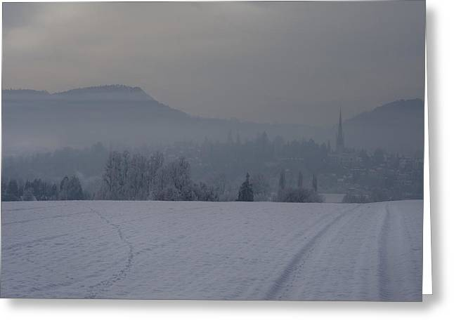 The Misty Wintery Afternoon Greeting Card by Angel  Tarantella