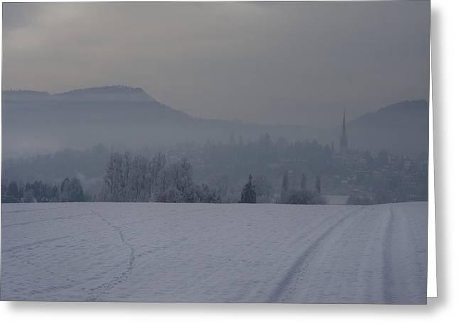 The Misty Wintery Afternoon Greeting Card by Angel Ciesniarska