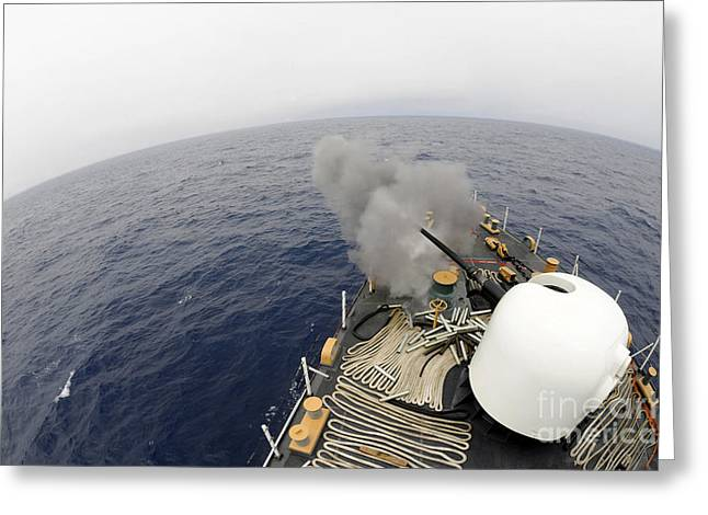 The Mk-75 76mm Cannon Aboard United Greeting Card by Stocktrek Images