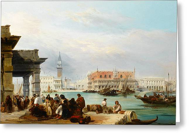 The Mollo From The Dogana, Venice Greeting Card by Edward Pritchett