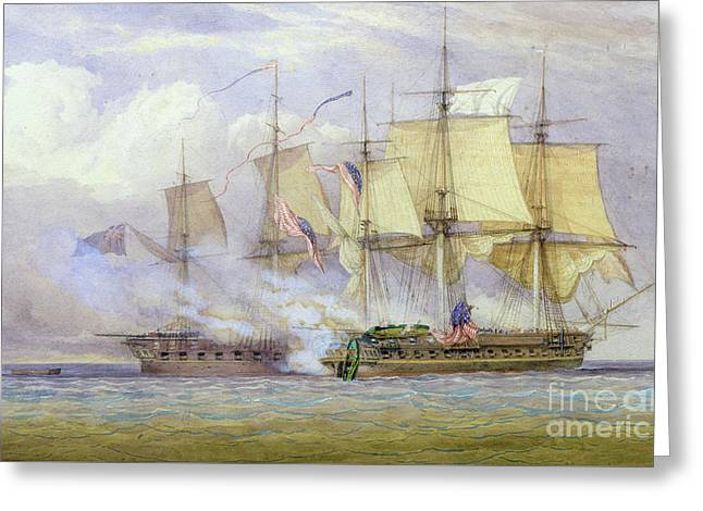 The Moment Of Victory Between Hms Shannon And The American Ship Chesapeake On 1st June 1813 Greeting Card