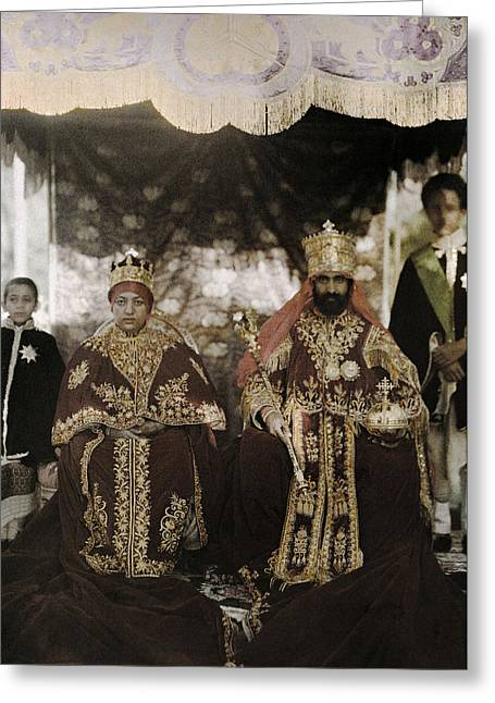 Mid-adult Greeting Cards - The Monarchs Haile Selassie The First Greeting Card by W. Robert Moore