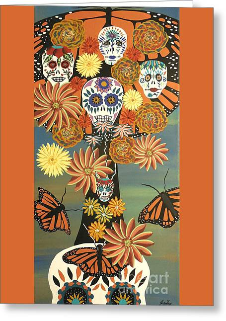 The Monarch's Tree Of Life And The Dead - Day Of The Dead Greeting Card