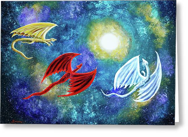 The Moon And Dragons Three Greeting Card