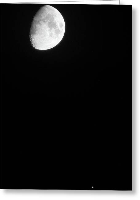 Greeting Card featuring the photograph The Moon And Jupiter by Mark Dodd