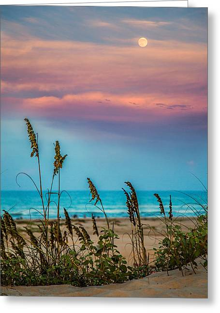 The Moon And The Sunset At South Padre Island 11 By 14 Crop Greeting Card by Micah Goff