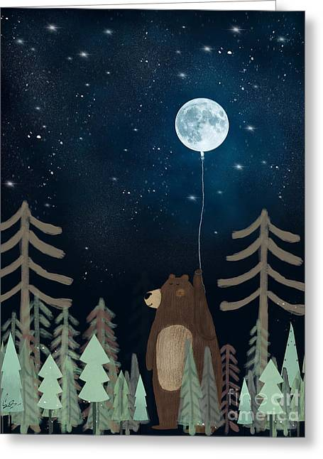 The Moon Balloon Greeting Card