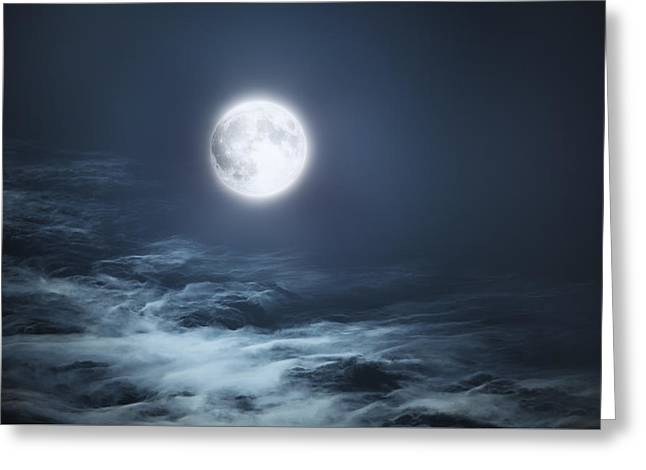The Moon Blues Greeting Card by Bill Wakeley